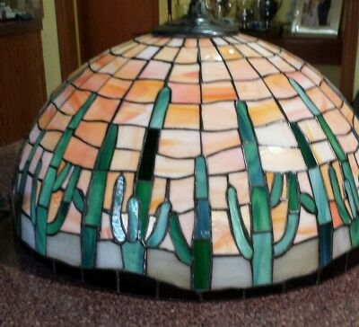 Stained Glass Hanging Lamp-Chandelier Southwest Desert Cactus