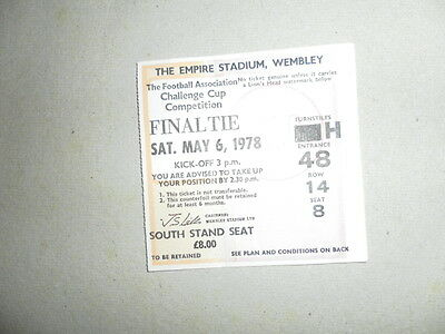 1978 Fa Cup Final Ticket Arsenal V Ipswich Town