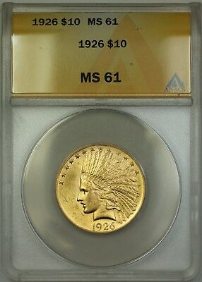 1926 $10 Indian Eagle Gold Coin ANACS MS-61 DJ