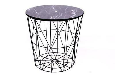 Round Modern Retro Black Metal & Marble Effect Wood Lamp Coffee End Side Table