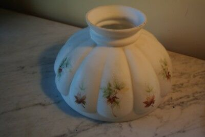 """Antique Satin White Glass with Leaf floral Hurricane oil  Lamp Shade 10"""""""