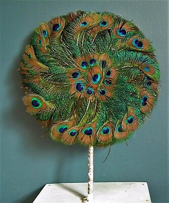 ANTIQUE Vintage PEACOCK FEATHER Hand Held FAN green women's accessories