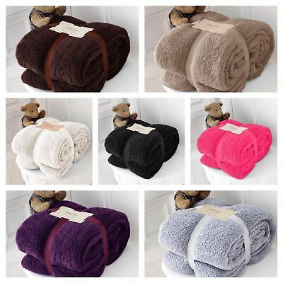 Super Soft Warm Luxury Teddy Bear Fur Fleece Blanket Sofa Bed Throw Double King