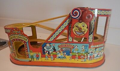 Rare Chein Tin Litho 1950S Roller Coaster Wind Up Toy Car & Original Box