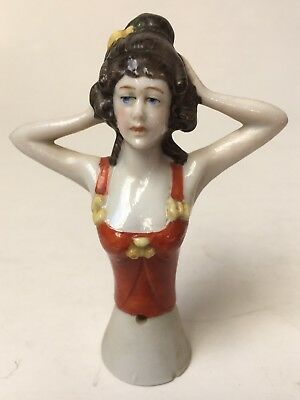 Vintage Half Doll Pin Cushion Porcelain Lady in Bustier Arms Away Germany 3554
