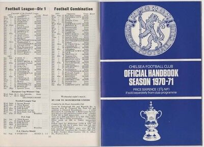 1970-1971-CHELSEA-OFFICIAL HANDBOOK-YEARBOOK-70-71-v DERBY COUNTY-CO DIVISION 1