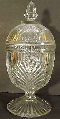 Antique Flint Glass EAPG McKee Ribbed Palm Covered Sugar Compote Sweetmeat