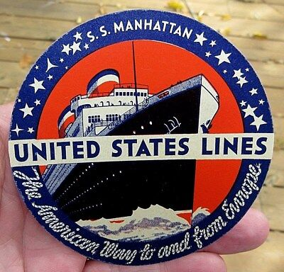 Vintage Ss Manhatten United States Lines Cruise Line Luggage Label