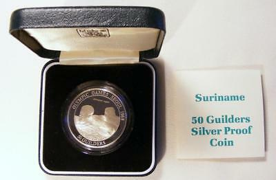 1988 Suriname STERLING SILVER PROOF COMMEM 50 Guilders Coin With COA & BOX!!