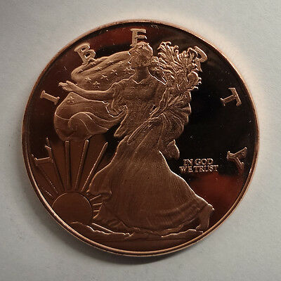 1 oz Walking Liberty Copper Round .999 coin uncirculated from roll - Bullion
