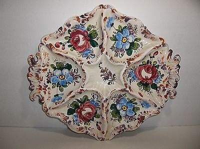Vintage Italian Pottery RELISH Tray Hand Painted Flowers 15.25""