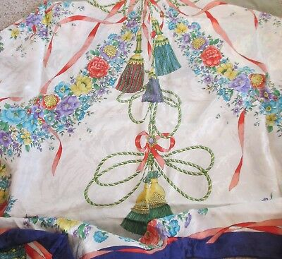 Beautiful Italian Floral Large Silk Scarf