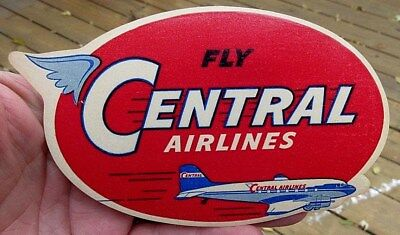 Vintage Fly Central Airlines Luggage Label