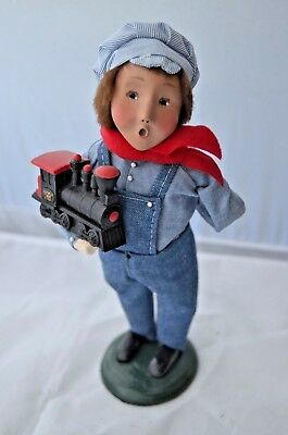2001 Byers Choice Boy in Engineers Outfit w/Train