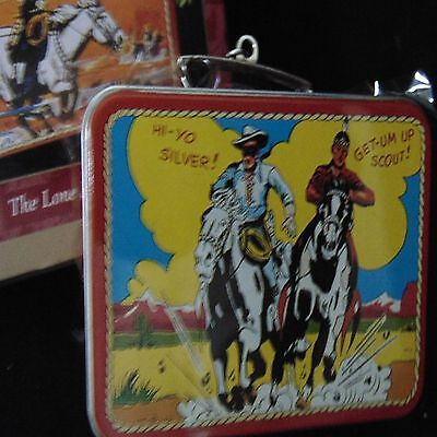 Western Cowboy Lone Ranger Tonto School Metal Lunchbox Toy New Old Store Brand Z