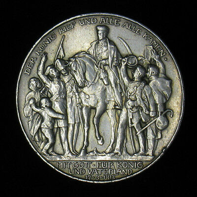 1913-A German States Prussia 3 Mark Napoleon Defeat silver coin