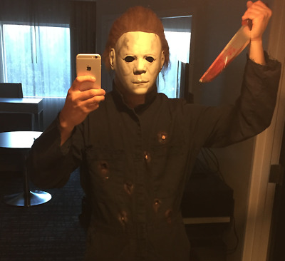 COMPLETE Halloween II 2 Michael Myers Costume w/ T.O.T.S Mask, Jumpsuit & Knife!