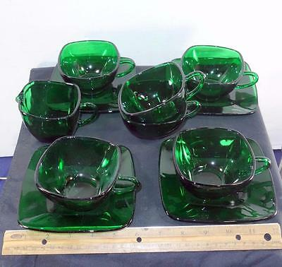 11 Anchor Hocking Forest Green Glass Pieces Cup & Saucers & Creamer