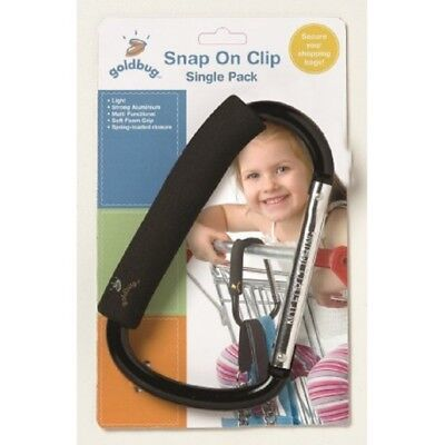 Pram or shopping trolley snap on clip / hook for carrying shopping, nappy bag