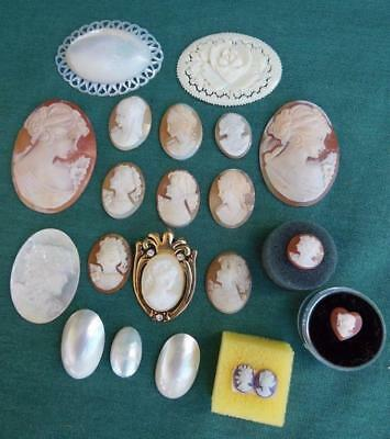 Old Victorian Carved Shell Cameo Lot 20 Brooch Pendant Mother Of Pearl Jewelry