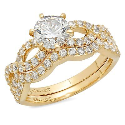 1.75ct Round Cut Bridal Engagement Wedding Ring Band Set Solid 14 Yellow Gold