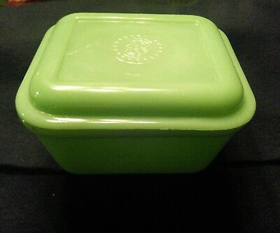Vintage Fire King Philbe Pattern Jadeite Covered Refrigerator Bowl