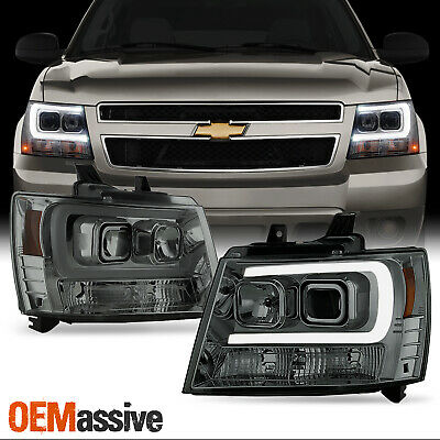 For 07-14 Chevy Suburban | Tahoe | Avalanche Smoked LED DRL Projector Headlights
