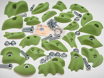 22x PLAIN COLOUR BOLT-ON & SCREW-ON ROCK CLIMBING WALL HOLDS SET WITH FIXINGS