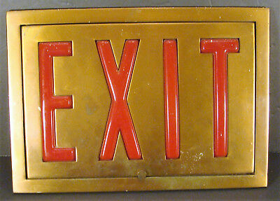 Vintage Antique Art Deco Copper Plated EXIT Sign Panel Red Insert 1930's