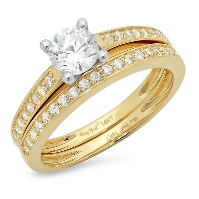 1.1ct Round Cut Bridal Engagement Wedding Ring Band Set Solid 14 Two-Tone Gold