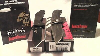 Lot of 2 New Kershaw Pocket Knives Starter 1301 & Emerson CQC-3K Tanto Knife 3K