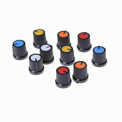 10Pcs Five Colour Face Plastic for Rotary Taper Potentiometer Hole 6mm Knob MOAU
