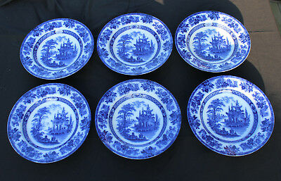 (6) Flow Blue Bowls DOULTON Oriental Scene Made in England Blue Madras