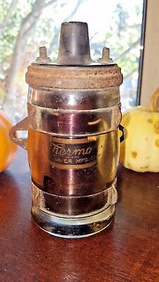 THERMO Deep River MFG Co. Glass Coil W/ Bracket Ignition Hot Rod Vintage RARE NR