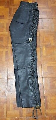 Vintage Women's Leather Men Black Leather Pants With Lace-Up Sides Size 26