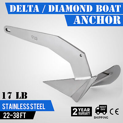 Delta / Diamond Boat Anchor 17LB 7.7Kg strong Delta Style 316 Stainless Steel