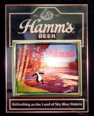 Vintage PABST Hamm's Beer Lighted Sign Refreshing Waters Works 1984