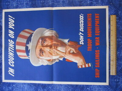 1943 Artist Signed L Helgura I'm Counting On You WWII World War II Poster hj3339