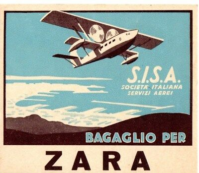Sisa Societa Italiana Servizi Aerei Airline Baggage Label Sticker Zara Pre 1934