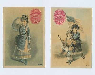 (2) 1800's Advertising Trade Cards G.H. Read Bros Bloomington IL Illinois bv2064
