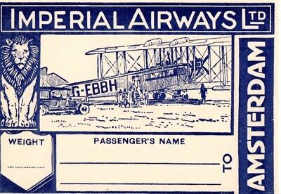 Imperial Airways Amsterdam Airline Baggage Label Sticker Early 1930's