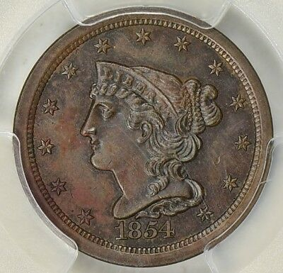 1854 1/2C Half Cent, PCGS MS63 BN, Choice Uncirculated Braided Hair