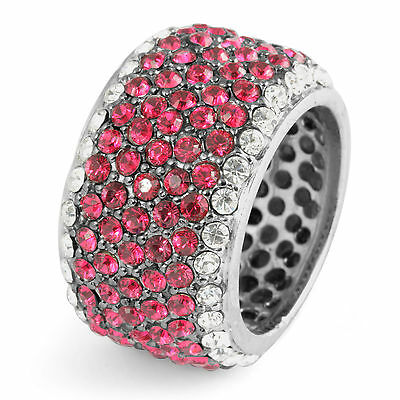 Cubic Zirconia Pink Round Anniversary Eternity Band Ring Sterling 925 Silver SZ7