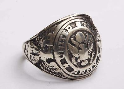 1940s WWII vintage Sterling Silver U.S. ARMY RING w/EAGLES