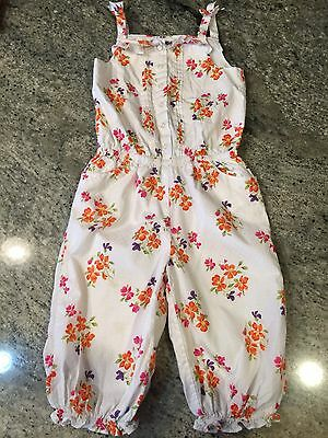 Janie And Jack Girls Floral Romper Size 5 Summer Orchid