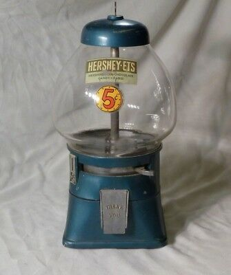 1950 .05 Cent HERSHEY-ETS CANDY DISPENSER-TEAR DROP GLOBE-ORIGINAL-WORKS-