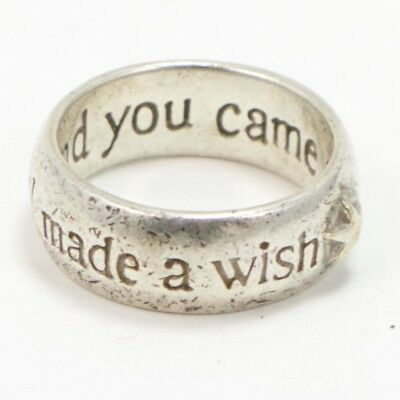 VTG Sterling Silver - I Made A Wish Star Band Ring Size 6 - 6g