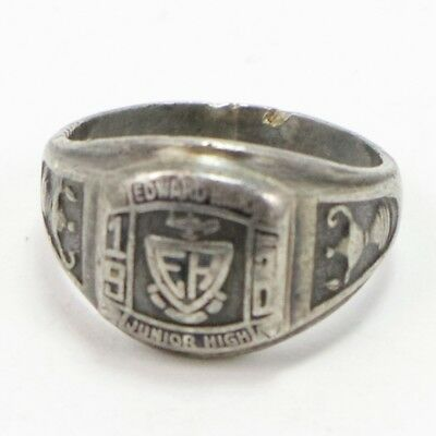 VTG Sterling Silver - 1950 Edward Hand Junior High Class Ring Size 6.5 - 8g