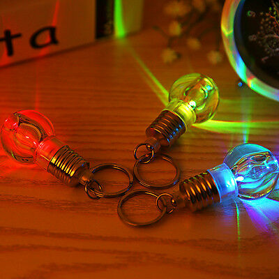 Creative Clear LED Colorful Flash Lights Mini Bulb Torch Key Chain Keyring Gift