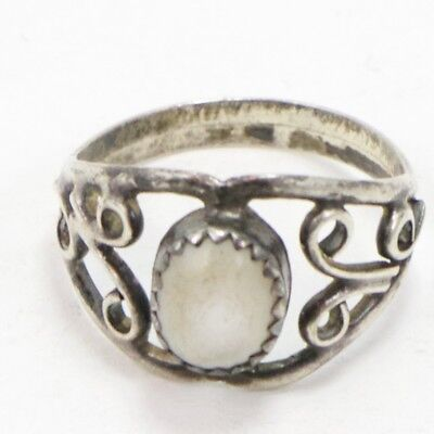 VTG Sterling Silver - Filigree Mother of Pearl Ring Size 6.5 - 2g